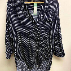 Blue button down blouse Size Large.